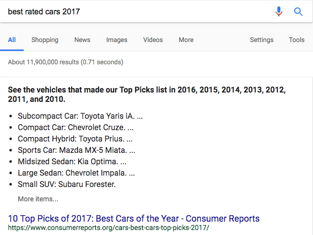 Bullet Featured Snippet